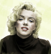 Movie Icon Drawings Posters - Faded Dream Marilyn Monroe Poster by Iconic Images Art Gallery David Pucciarelli