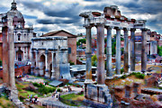 Roman Ruins Digital Art Posters - Faded Glory Poster by Phil Dyer