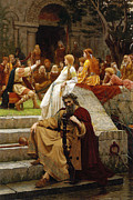 King Arthur Paintings - Faded Laurels by Edmund Blair Leighton