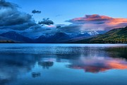 Lake Mcdonald Framed Prints - Fading Sunset Framed Print by Adam Jewell