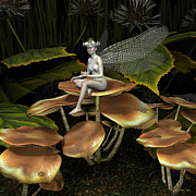 Fungi Digital Art - Faerie On Mushrooms by Randall Arthur