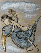 Stork Paintings - Faery and the Stork by Sue Wright