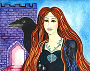 Shamanic Mixed Media Prints - Faery Crow Print by Cat Athena Louise