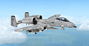 Warbird Mixed Media - Fairchild A-10 Thunderbolt by Walter Colvin