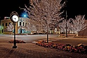 Trees Digital Art Originals - Fairhope Ave with Clock Night Image by Michael Thomas