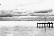 Bat Mobile Framed Prints - Fairhope pier greyscale Framed Print by Russell Christie