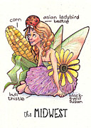 Midwest Drawings Posters - Fairies of the US The Midwest Poster by Emily Martin