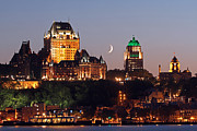 Crescent Moon Photos - Fairmont Le Chateau Frontenac by Juergen Roth