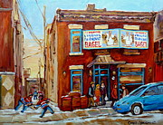 Montreal Storefronts Paintings - Fairmount Bagel In Winter Montreal City Scene by Carole Spandau
