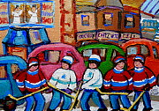 Hockey In Montreal Paintings - Fairmount Bagel Street Hockey Game by Carole Spandau