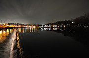Row Boat Digital Art Prints - Fairmount Dam and Boathouse Row in the Evening Print by Bill Cannon