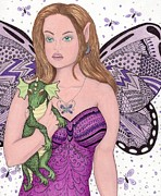 Lavender Drawings Originals - Fairy and Her New Friend -- the Baby Dragon by Sherry Goeben