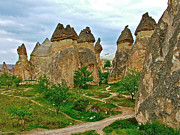 Chimneys Digital Art Prints - Fairy Chimneys Housing Early Christian Churches in Cappadocia-Tu Print by Ruth Hager