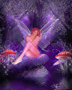 Purple Mushrooms Posters - Fairy Fantasy Poster by Brian Graybill