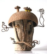 Wood Sculpture Sculpture Posters - Fairy House  Poster by Nikolay Ilchevski