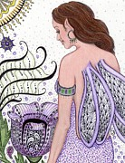 Lavender Drawings Originals - Fairy -- I Just Love My Poppy by Sherry Goeben