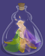 Djinn Prints - Fairy in a Bottle Print by Kathi Day