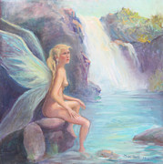 Waterfalls Paintings - Fairy of the falls Morning Bath by Gwen Carroll