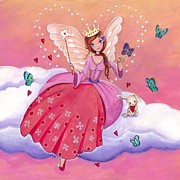 Pink Bedroom Paintings - Fairy on a Cloud by Caroline Bonne-Muller
