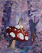 Jean Walker Prints - Fairy on a Mushroom Print by Jean Walker