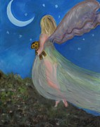 Night Angel Paintings - Fairy Overlook by Elizabeth Liz Pritchett