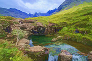 Highlands Of Scotland Posters - Fairy Pools of Skye Watercolour Poster by Chris Thaxter