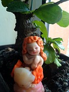 Sculpted Sculpture Prints - Fairy Puney Cuteness Wiseness ooak doll doll house Print by TriyaandNora Sculpts