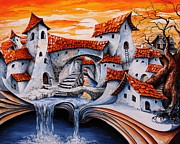 Tale Painting Posters - Fairy Tale city - Magic stream Poster by Emerico Imre Toth