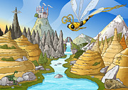 Dragon Fly Drawings Posters - Fairy Tale Landscape Poster by David Spier