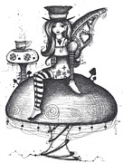 Mad Hatter Drawings Prints - Fairy Tea Time Print by Sheri Athwal