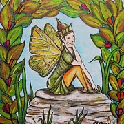 Children Sitting Drawings - Fairy Thinker by Sharon Lee Samyn