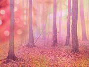 Fantasy Art Nature Photos Posters - Fairytale Nature Trees - Dreamy Fantasy Surreal Pink Trees Woodland Fairytale Photography Poster by Kathy Fornal