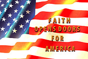 Us Flag Mixed Media - Faith and America by Beverly Guilliams