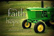 Tractor Framed Prints - Faith and Hope Framed Print by Linda Fowler