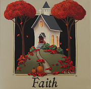 Autumn Folk Art Paintings - Faith Country Church by Catherine Holman