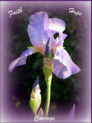 Posters On Mixed Media - Faith Hope and Courage Iris by Michelle Frizzell-Thompson