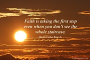Martin Luther King Jr Posters - Faith is taking the first step Poster by Pharaoh Martin