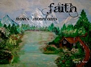 Log Cabin Art Mixed Media Prints - Faith Print by Kelly Turner