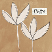 Brown Mixed Media Metal Prints - Faith Metal Print by Linda Woods