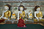 Birma Prints - faithful Buddhist monk praying at Buddha Statues in SHWEDAGON PAGODA Print by Juergen Ritterbach