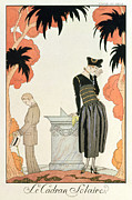 Peach Dress Framed Prints - Falbalas et fanfreluches Almanach des Modes Framed Print by Georges Barbier