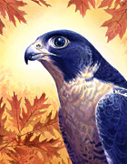 Leaves Painting Originals - Falcon by Alan  Hawley