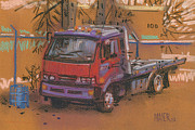 Truck Pastels Prints - Falcon Wrecker Print by Donald Maier