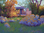 Autumn Trees Pastels Prints - Fall Afternoon in Taos NM Print by Sarah Blumenschein