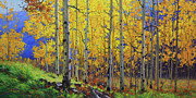 Fall Prints Paintings - Fall Aspen Hill  by Gary Kim