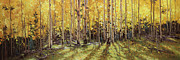 Vibrant Color Prints Paintings - Fall Aspen Panorama by Gary Kim
