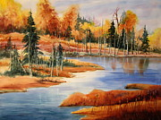 Lush Green Painting Posters - Fall At Elk Island  Poster by Mohamed Hirji