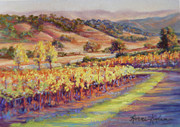 Grapevines Pastels Posters - Fall at Rusacks Front Gate Poster by Denise Horne-Kaplan