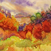 Fiber Art Paintings - Fall at the Lake by Deborah Younglao