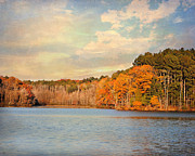 Autumn Landscape Framed Prints - Fall at the Lake II Framed Print by Jai Johnson